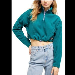 BDG Fleece Crop Track Pullover